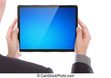 tablet, firma, moderne, pc., holde, digital mand