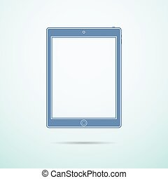 Tablet flat icon on blue background