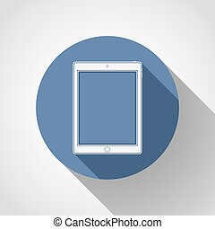 Tablet flat icon with long shadow.