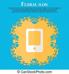 Tablet. Floral flat design on a blue abstract background with place for your text. Vector