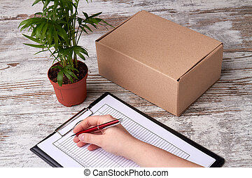 Tablet for daily planning and delivery box.
