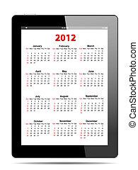 tablet, formaat, pc, vector, witte , kalender, 2012