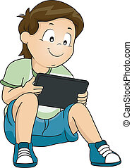 Tablet Game Boy - Illustration of a Little Boy Playing on...