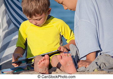 Tablet Gaming Kids Outdoors