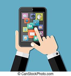 tablet., hände, besitz, wohnung, design.