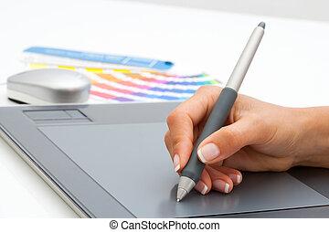 tablet., hand, pen, vrouwlijk, digitale , gebruik