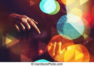 tablet, handen op, computer, vrouwlijk, digitale , afsluiten, gebruik
