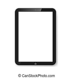 tablet, hos, blank, screen.