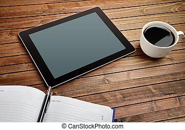 tablet, hos, kaffe kop, og, notesbog