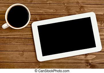 tablet, hos, kaffe kop