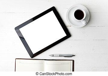 tablet, hos, notesbog, og, kaffe kop