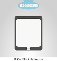 Tablet icon on a gray background. Vector illustration
