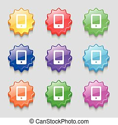 Tablet icon sign. symbol on nine wavy colourful buttons. Vector