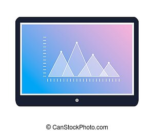 Tablet Icon with Graphic on Screen Flat Vector