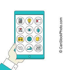 tablet, iconen, apps, hand, digitale , lijn