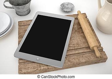 Tablet in kitchen