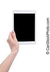tablet in the hands of women