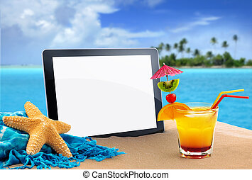 tablet in tropical beach - tablet, sea star and tropical...
