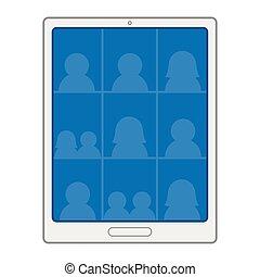 Tablet in virtual meeting