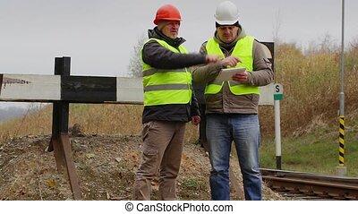 tablet, ingenieurs, spoorweg, pc