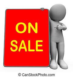tablet, karakter, reductie, verkoop, korting, spaarduiten, of, optredens