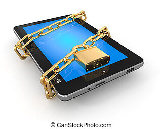 tablet, ketting, security., slot, pc, computer.
