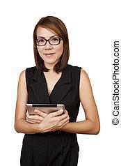 tablet., kobieta, asian handlowy