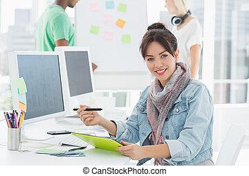 tablet, kunstenaar, iets, tekening, grafisch, collega's
