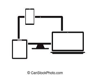 tablet laptop phone monitor set