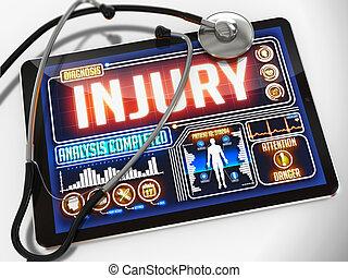 tablet., médico, ferimento, exposição