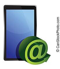 tablet mail illustration design over white background
