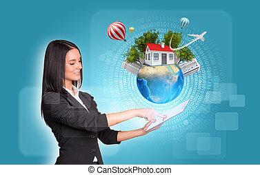 tablet., maison, arbres, la terre, numérique, utilisation, femmes