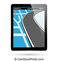 PC tablet screen with gps navigation