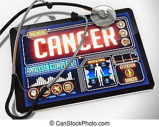 tablet., medico, mostra, cancro