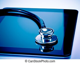 tablet, medisch, moderne, stethoscope, digitale , laboratorium