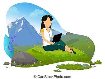 tablet, meisje, bergen, vector, computer