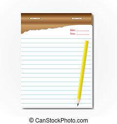 tablet, memorandum, blad, voor, list.