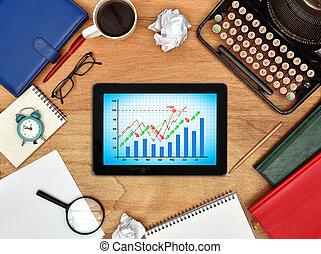 tablet, met, aandeel diagram