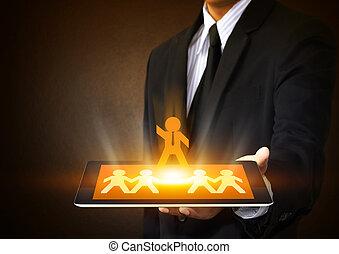 tablet, met, bewindvoering, concept