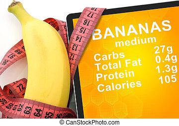 tablet, met, calorieën, in, banaan