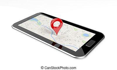 tablet, met, kaart, op, scherm, en, rood, spelden,...