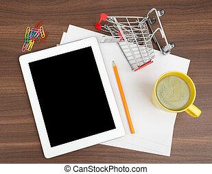 tablet, met, leeg, papier, en, boodschappenwagentje