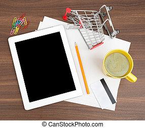 tablet, met, leeg, papier, en, kredietkaart