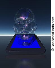 tablet, met, menselijk hoofd
