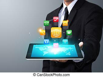 tablet, met, toepassing, iconen
