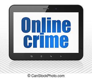 tablet, misdaad, pc computer, online, veiligheid, display, concept:
