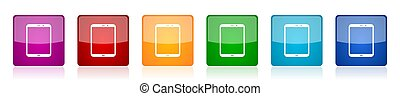 Tablet, mobile, phone, smartphone icon set, colorful square glossy vector illustrations in 6 options for web design and mobile applications