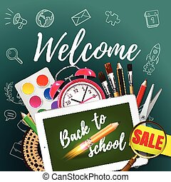 Tablet mock up template with school supplies on green blackboard . Welcome Back to school concept. Vector illustration.