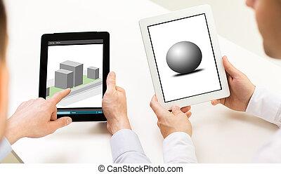 tablet, modellen, schermen, pc, ontwerpers, 3d