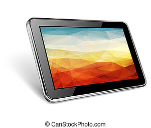 Tablet - Modern black tablet pc with abstract background on...